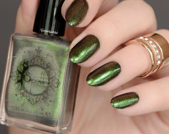 Peace of Mind SPELL iridescent top coat shimmery GREEN nail polish!