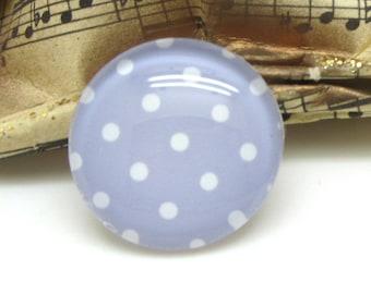 2 cabochons 10 mm glass purple Pastel polka dots - 10 mm