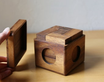 Wooden Puzzle In a Box // Coffee Table Decor // Brain Teaser // Natural Toys