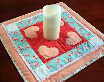 Heart Quilted Table Topper, Applique, Pink, Coral, Red, White, Lace, Reversible Runner, Handmade Mini Wall hanging, Valentine Mat