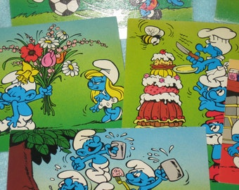 6 Vintage Unused Smurfs postcards with FREE Domestic Shipping