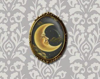 Man in the Moon Brooch - Moon Pin - Moon Man Brooch - Victorian - Celestial - Astrology - Astronomy - Zodiac - Cosmos
