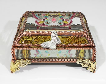 Jewel Encrusted Butterfly Treasure Box -4x5