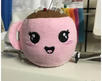 Tea Cup Pin Cushion and Retractable Tape Measure - In Pink