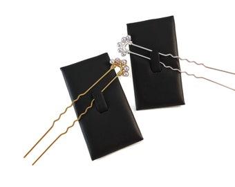 Purple Pearl Hair Pin Gold or Silver, Long Hair Pins Bridal Updo Hair Accessories Purple, Swarovski Pearl Bridal Hair Pin for French Twists