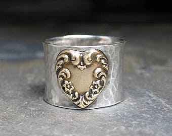 Wide band heart ring sterling silver brass metalsmith - Renaissance Heart