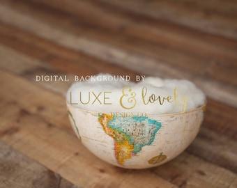 Newborn Photography Prop Digital Background, Globe