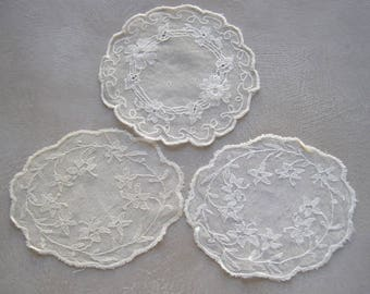 3 Antique French Doilies Circular Embroidered Net Lace Doilies Handmade Lace Coasters