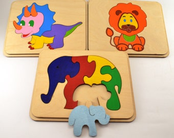 Set of 3 wooden puzzle Baby & Toddler Toys Montessori toy Wooden toys Travel toys Busy toys Animal puzzle Elephants family Waldorf toys Gift