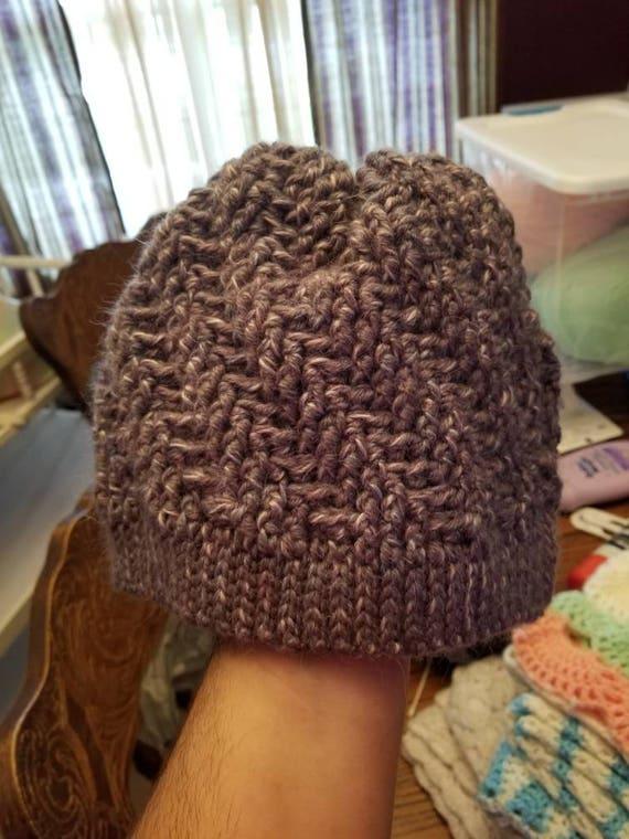 Gray Twist Pattern Crochet Hat
