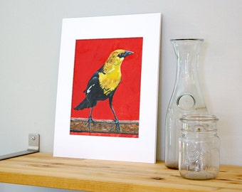 11x14 Yellow and Black Bird Wall Art with White Mat - Ready to Frame Bird Print from Original Acrylic Painting