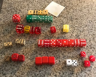 Lot of 40 Vintage Dice/ Top row are four Bakelite Dice/Great for Crafting
