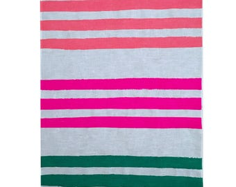 Triple Stripes in flamingo, neon crimson and green linen tea towel (natural or off-white)
