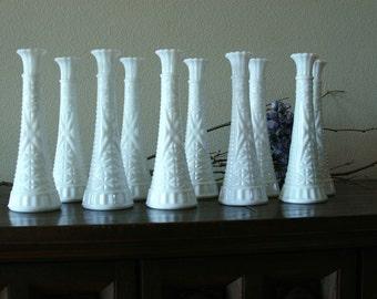 Vintage Milk Glass 10 vases,Wedding