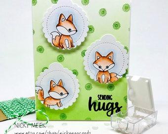 Handmade Watercolor Card - Sending Hugs - Foxes