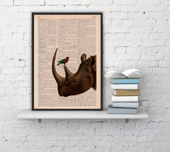Rhino and his little friend, wall decor-Dictionary Book Print Gift her,Altered art Giclee print Rhino ANI072b