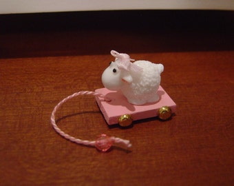 Dollhouse child's pull toy sheep pink miniature 1:12 Scale