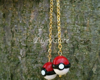 Polymer Clay Pokeball earring.
