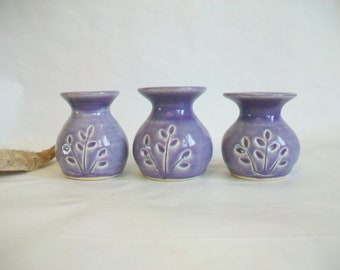 Small Vases with a Pressed Design --- Purple ---  Handmade on the Potters Wheel -- Actual -- Ready to Ship