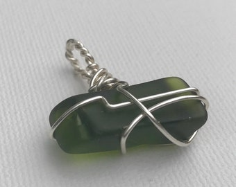 Cute Little Green Sea Glass Pendant