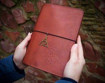 Harry Potter Planner - Harry Potter Gift - Harry Potter Journal - Harry Potter Art Wide Size Natural Leather Notebook Inner Pockets Inserts