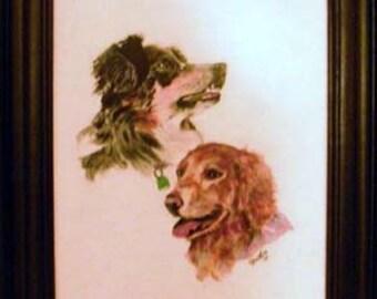 Pet portrait, multi pet portrait, handmade frame, handpainted portrait from photo, acrylic on wood