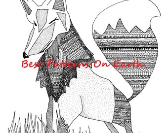 Fox Coloring Page - Astek Aztec Fox - Adult Coloring Pages - Kids Coloring Book PDF- Zendoodle