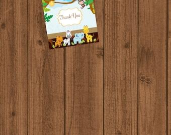 Jungle Baby Shower, Safari Baby Shower, Thank You Card, Jungle Safari Birthday Instant Download, Jungle Safari Gift Tag