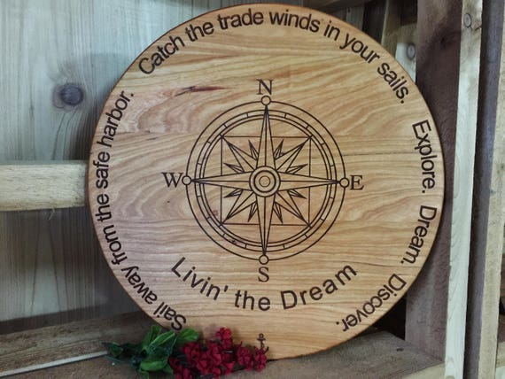 Personalized Compass Wood Cutting Board Engraved with Name in White Oak, Walnut, Cherry and Maple Wood.