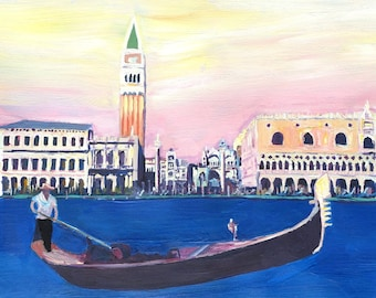 Venice Italy Gondola on Grand Canal with San Marco - Fine Art Print - Original Available