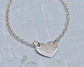 Girl's Personalized Silver Heart with Initial Necklace, Children's Heart Necklace, Gift for Flower Girl, Sterling Silver Heart, Christening