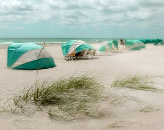 Beach Cabanas Florida coastal Photography Nautical poster turquoise art decor