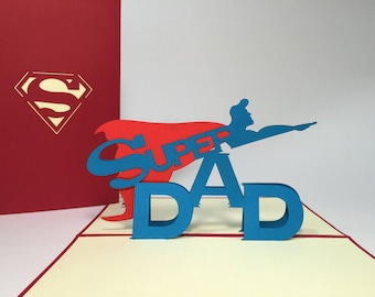 Super Dad - Pop Up Father's Day Card - Funny Birthday Card for Dad - Dad Get Well Card - Thanks Dad - New Dad Gifts - Congratulations Card