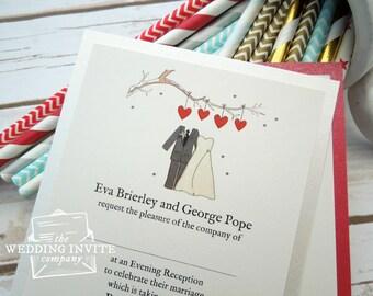 Winter Bride and Groom Postcard Wedding/Evening Invitations