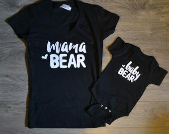 Mama Bear + Baby Bear T-shirt Package, Mama Bear V-Neck T-shirt, Baby Bear Bodysuit, Baby shower gift, Mothers day gift