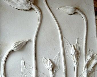 Plaster Cast Decorative Tile - Clematis - Flowers - Scotland