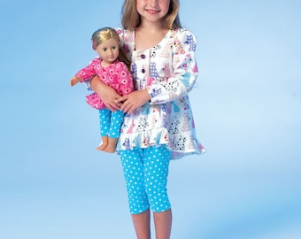 """McCall's Sewing Pattern M7043 Children's/Girls'/18"""" Doll's Matching Tops, Dresses and Leggings"""
