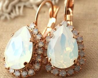 Opal Earrings, Bridal Opal Earrings, White Opal Drop Earrings, Opal Dangle Earrings, Swarovski Opal Bridal Earrings, Bridesmaids Earrings