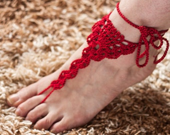RED Barefoot Sandals, Crochet  Nude shoes, Beach wedding Foot jewelry, Victorian Lace, Women fashion accessory, Gift for her Loveknittings
