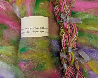 Narnia Art Yarn / Handspun Yarn / 26 The Beginning Of Adventure / Rainbow / Silver / Pink / Sparkle / Single Ply / 110g / Knitting / Crochet
