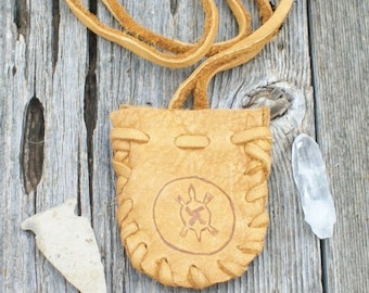 Leather medicine bag  with turtle totem ,  Leather neck pouch ,  Turtle medicine bag ,  Drawsting leather pouch or medicine bag
