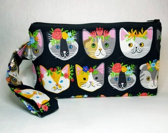 Kitty wristlet, cosmetic bag, make up clutch, 8x5, handle, zipper, inside pocket, cats