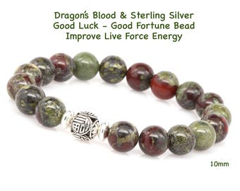 Dragons Blood Beaded Bracelet, Sterling Silver Good Luck Bead, Prosperity Bracelet, Keep Life In Balance, Face Difficulties, Tame the Dragon