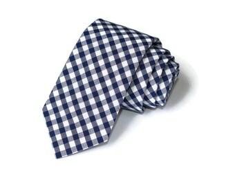 Navy Blue Gingham Necktie~Anniversary Gift~Wedding Tie~Mens Gift~Boys Necktie~Mens Necktie~Wedding~HoBo Ties~Mens Tie~