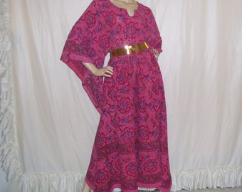 Pink Paisley Maxi Caftan Party Dashiki Cruise Dress Angel Resort Island Hippie Upcycled Vintage Tapestry Maxi Dress Unisex S - 2X Plus Size