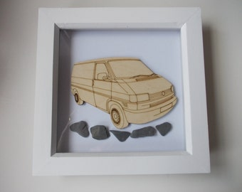 T4 Panel Van Picture -  Etched wood T4 with Sea Slate in white frame