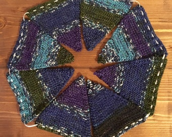 Blue and Purple Multi-coloured Knitted Bunting