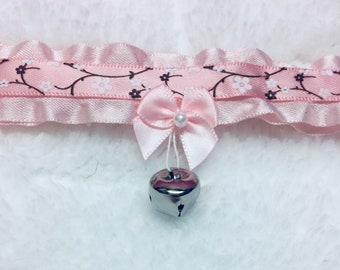 Pastel aesthetic/sweet Lolita cherry blossom pink /jingle cat collar choker necklace