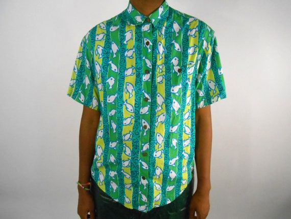 Mens Button Up Shirt/ Fish Shirt/ Panama Mola/ Guatemalan Clothing/ 90s Button Up Shirt/ Hawaiian Shirt Men/ Tropical Shirt/ Neon Shirt NIWnT1tYX
