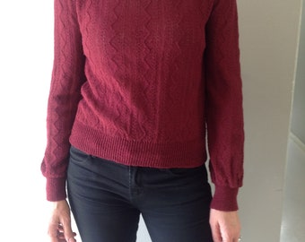 1970's Maroon Vintage Sweater Top/  Women's Small